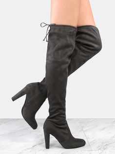 """Strut your stuff in the Tie Back Suede Chunky Heel Boots! Features a faux suede upper, side zipper for easy entry and removal, tie back design and an almond toe. Finished with a 3.75"""" in. approx chunky heel. Complete the look with a satin cami dress for a sweet ensemble. #monochrome #MakeMeChic #style #fashion #newarrivals #fall16"""
