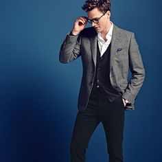 Grey with navy check Yorkshire worsted Slim fit jacket