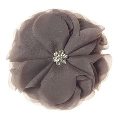 """Sheer Rose-Silver Grace Adele Clip-on    Chic — with a wink of whimsy. This sheer blossom will add ethereal style to your favorite Grace Adele bag, your ponytail, your neckline … anywhere!     • 4.5"""" diameter  • Clip-on    https://myfashions.graceadele.us/GraceAdele/Buy/ProductDetails/10498"""
