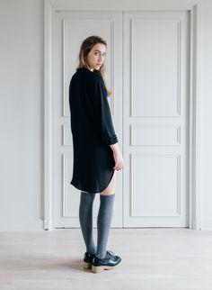 Blouse longue PISE de la marque SAM et LILI  Blouse fluide, Col mao, boutonnage à l'avant, chemise manches longues coupe liquette  Fabrication française