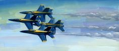 Original painting of the US Navys Blue Angels by Lesley Spanos | SpanosStudio - Painting on ArtFire