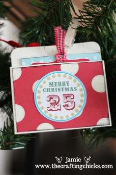"""Note: Use this concept to make """"Days Until Christmas Ornament. Scrapbook Paper as envelope, attached to cardstock for sturdiness, and ribbon attached to cardstock"""