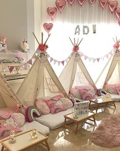 My Little Party Miami - Teepee Party Birthday Sleepover Ideas, Slumber Parties, Kid Parties, Picnic Decorations, Birthday Decorations, Girls Teepee, Toddler Rooms, Toddler Bed, Teepee Party