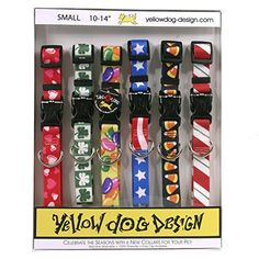 Seasonal Dog Collars Calendar Pack – Valentines Day, St Pattys Day, Easter, 4th of July, Halloween, and Christmas (Small 10-14 L x 3/4 W) – With Tag-A-Long System by Yellow Dog Design