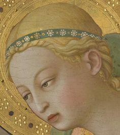 Fra Angelico - The Annunciation. Detail: the Virgin, Museo del Prado, Madrid Fra Angelico, Italian Renaissance, Renaissance Art, Medieval Art, Medieval Dress, Jan Van Eyck, Sea Art, Circlet, Sacred Art