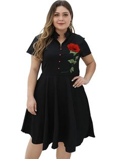 Oversize Stitching Rose Embroidery Skater Dress, 2XL, 3XL, 4XL, 5XL, A-Line Dresses, Black, Casual, Empire, Knee-Length, Lining, Other, Polyester, Print, Short Sleeve, Spring, Stand Collar, XL