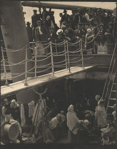 "Instrumental in introducing avant-garde art to the United States, photographer and modern art promoter Alfred Stieglitz was born on this day in ""The Steerage,"" 1907 (negative), c. 1913 (photogravure), by Alfred Stieglitz"