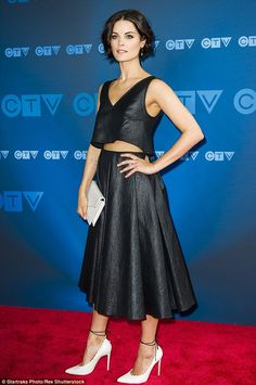 Dramatic silhouette: Jaimie Alexander looked fabulous on the red carpet for the CTV's Upronts in Toronto, Canada on Thursday