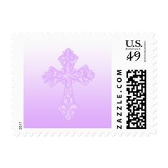 Any Color Background Lilac Cross Postage