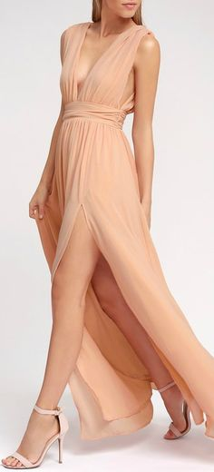 You'll be goddess-like for the entire evening in the Lulus Heavenly Hues Blush Maxi Dress! Georgette fabric drapes alongside a V-neck and back, and lays across a banded waist. Full maxi skirt has a sexy side slit. Hidden back zipper with Blush Pink Maxi Dress, Blush Gown, Blush Dresses, Bridesmaid Dresses, Prom Dresses, Casual Bridesmaid, Purple Maxi, Red Maxi, Bridesmaids