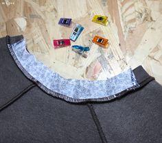 """Pas à Pas : Bande de Propreté sur Encolure en Jersey... (Patron : """"Sweater Chess"""" de La Maison Victor janv-fév 2015) par m Gg++ Techniques Couture, Sewing Techniques, Free Pattern, Outdoor Blanket, Cap, Patterns, Pattern Sewing, Groomsmen, Sewing Stitches"""