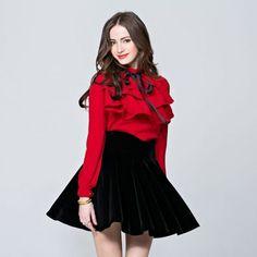 Chiffon Blouses, Red Blouses, Shirt Blouses, Blouses For Women, Blouses 2017, Women's Shirts, Tiered Tops, Bow Tops, Manga