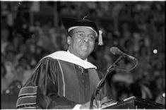 Clarence Page speaks at Ohio University commencement in Convocation Center, June 12, 1993 :: Ohio University Archives