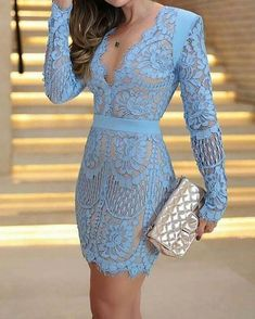 Eyelash Lace Overlay Plunge Neck Bodycon Dress trendiest dresses for any occasions, including wedding gowns, special event dresses, accessories and women clothing. Sexy Dresses, Fashion Dresses, Dresses For Work, Dresses Dresses, Party Dresses, Sequin Party Dress, Mini Vestidos, Classy Dress, Dress Casual