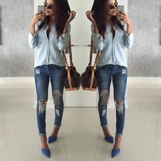 "⠀⠀⠀⠀⠀⠀⠀ ⠀⠀⠀⠀⠀ Thaise De Mari ™ no Instagram: ""{All blue for a Gray day} Amo um jeans✌️ Perceberam né?!? #ootd #outfit #jeans"""