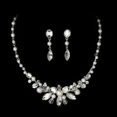 Bridal & Wedding Party Jewelry Stunning White Pearl & Ab Crystal Bride Wedding Formal Necklace Jewelry Set Chic Fixing Prices According To Quality Of Products Engagement & Wedding