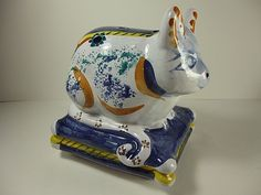 "HAND PAINTED MULTI COLOR PORCELAIN ""CAT ON A STAND"" INCENSE BURNER 5""T X 5""W"