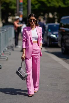 PARIS FRANCE - JULY Camila Coelho wears a pink blazer jacket pink flared pants a Chanel bag a white cropped top outside Chanel during Paris Fashion Week Haute Couture Fall Winter on July 3 2018 in Paris France. (Photo by Edward Berthelot/Getty Images) Suit Fashion, Pink Fashion, Fashion Looks, Fashion Outfits, Paris Fashion, Fashion Trends, Blazer Fashion, Pink Blazer Outfits, Pink Blazers