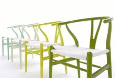 Chaise Wishbone Ch 24 Citrus de Hans J. Wegner par Carl Hansen. #chair #green #yellow
