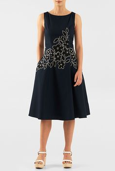 I <3 this Floral wool embellished poplin A-line dress from eShakti