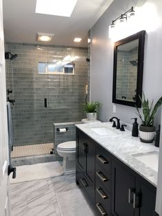 Let us recreate this Luxury Bathroom Renovation for you in Columbus,Ga. Bathroom… Let us recreate this Luxury Bathroom Renovation for you in Columbus,Ga. Bathroom Design Luxury, Modern Bathroom, Dark Vanity Bathroom, Dark Cabinets Bathroom, Bathroom Tile Showers, Shower Tiles, Bath Design, Grey Tile Shower, Dark Wood Bathroom