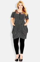 City Chic Illusion Yoke Cold Shoulder Zip Tunic (Plus Size)