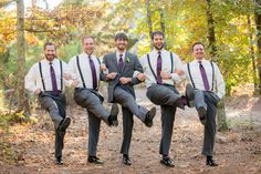 Casual Charcoal and Plum Groomsmen Suits