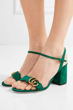 Heel measures approximately 75mm/ 3 inches Dark-green suede Buckle-fastening ankle strap Made in Italy