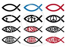 Jesus Christ symbol, fish sign, religious icons, God, cross, religion, christian, catholic, digital clip art set, clipart, vector, download