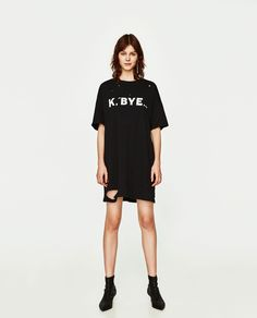 ZARA - WOMAN - RIPPED DRESS WITH LETTERING