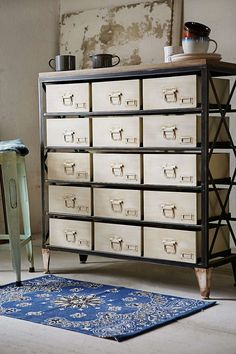 vintage style storage units, fifteen compartment dresser