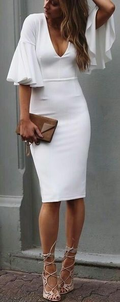 White Sheath Homecoming Dress with Short Sleeve Ruffle Knee-length Cocktail Dresses Prom Party Gowns