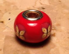 Polymer Clay European Style Compatible Bead Charm - Sparkly Red with Yellow Butterflies - 1223
