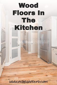 Wood floors are perfect in the kitchen! Reclaimed Hardwood Flooring, Wide Plank Flooring, Diy Flooring, Kitchen Flooring, Hardwood Floors, Kitchen Layout, Kitchen Tips, Kitchen Decor, Kitchen Design