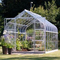 Greenhouses for sale with aluminium and timber frames. Great selection of x polycarbonate and glass greenhouse brands to choose from. Aluminium Greenhouse, Greenhouses For Sale, Hot House, Roof Vents, Acrylic Panels, Glass House, Double Doors, Cut Glass, Diana