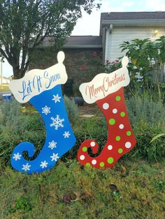 Personalized Christmas Stocking Wood Yard Art outdoor Decorations set of two Christmas Yard Art, Christmas Wood, Outdoor Christmas Decorations, Christmas Lights, Christmas Stockings, Christmas Crafts, Holiday Decor, Christmas Ideas, Country Christmas