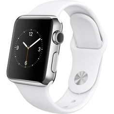 Apple Watch 38mm Stainless Steel Case with White Sport Band