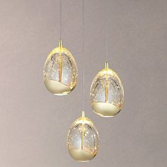 Buy John Lewis 3 Droplet LED Pendant Ceiling Light, Gold Online at johnlewis.com