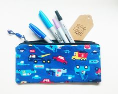 Pencil Case – Blue Vehicles Fully Lined Pencil Pouch – a unique product by gooseygoosey on DaWanda Pencil Pouch, Pouches, Coin Purse, Wallet, Unique, Vehicles, Pretty, Handmade, Blue