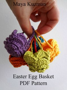 "Pattern available to buy for Little Treasures' ""Easter Egg Crochet Basket""."