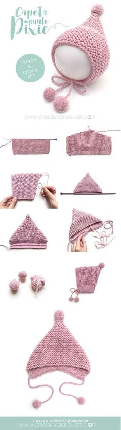 Baby Knitting Patterns Pixie baby hat… Baby Knitting Patterns Pixie baby hat… This image - Knitting Ideas Baby Knitting Patterns, Baby Hats Knitting, Easy Knitting, Baby Patterns, Knitted Hats, Crochet Hats, Crochet Beanie, Knitting Projects, Crochet Baby Dresses
