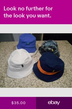 4445230a76880 NEW Polo Ralph Lauren Reversible Bucket Beach Golf Hat White Navy Blue LXL  SM. Hats Clothing ...