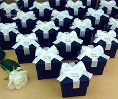 Navy Blue Wedding Bonbonniere Wedding favor boxes with satin | Etsy
