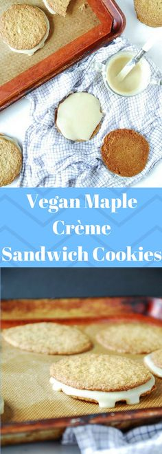 Maple frosting is sandwiched between two crispy sugar cookies, a perfect decadent vegan sandwich cookie!