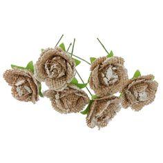 6pcs Fleurs de Toile de Jute Rustique Artisanat Décoration de Mariage…