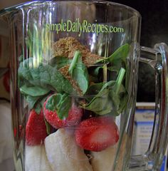 chocolate-almond-fruit-smoothie 2 frozen bananas, spinach, strawberries, ground flaxseed, non dairy milk, chocolate almond milk