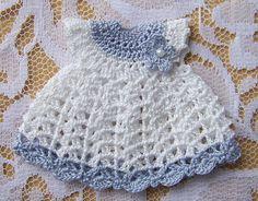 Dollhouse Miniature 1:12 Scale Heidi Ott Toddler Blue & White Dress Crocheted