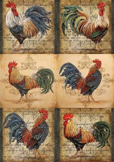 Roosters Love these for fabric collage Rooster Painting, Rooster Art, Rooster Decor, Tole Painting, Painting & Drawing, Chicken Painting, Chicken Art, Decoupage Vintage, Decoupage Paper