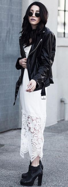 #spring #fashion #outffitideas | Black Biker Jacket + White Lace Maxi Dress