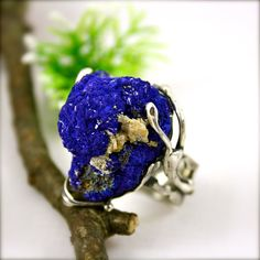 Azurite Ring Blueberry Druzy Sterling Silver by Izovella